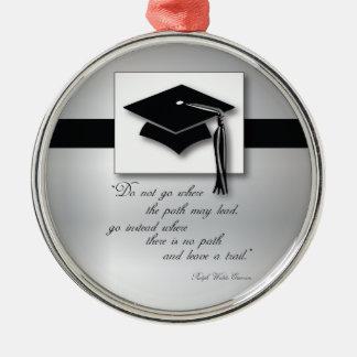 Abschluss-Weg, runde Geschenk-Einzelteile Silbernes Ornament