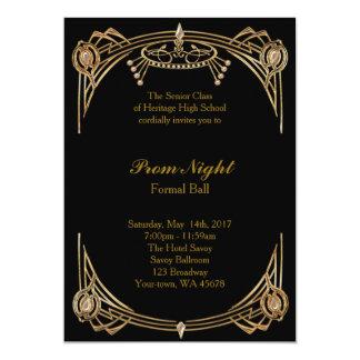 Abschlussballnacht, formaler Ball, Schwarzgold 12,7 X 17,8 Cm Einladungskarte