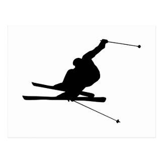 Abschüssiger Skifahrer Postkarte