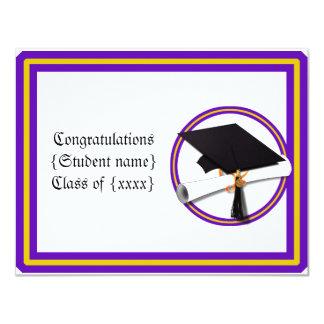 Absolvent-Diplom-Schule färbt lila und Gold 10,8 X 14 Cm Einladungskarte