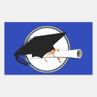 Absolvent-Kappen-Neigung mit Schule färbt Blau und Rechteckiger Aufkleber