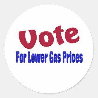 Abstimmung für niedrigere Gaspreise Runder Aufkleber