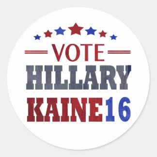 ABSTIMMUNG Hillary Kaine - Wahl 2016 Runder Aufkleber
