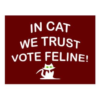 Abstimmungs-Katze mit weißem Text Postkarte