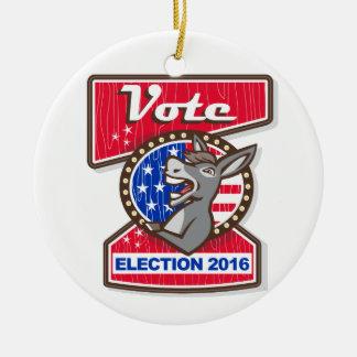 Abstimmungs-Wahl-Demokrat-Esel-Maskottchen-Cartoon Rundes Keramik Ornament
