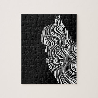 Abstract Black and White Cat Swirl Monochroom