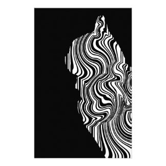 Abstract Black and White Cat Swirl Monochroom Briefpapier