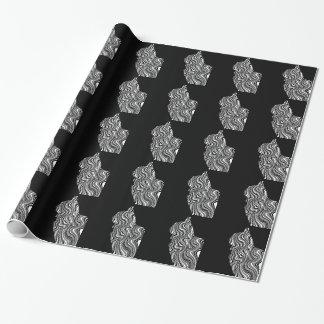 Abstract Black and White Cat Swirl Monochroom Geschenkpapier