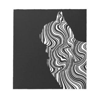 Abstract Black and White Cat Swirl Monochroom Notizblock
