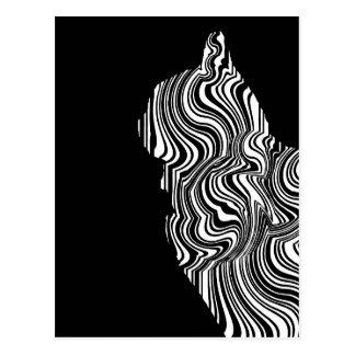 Abstract Black and White Cat Swirl Monochroom Postkarte