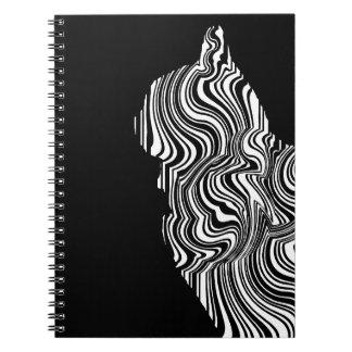 Abstract Black and White Cat Swirl Monochroom Spiral Notizblock