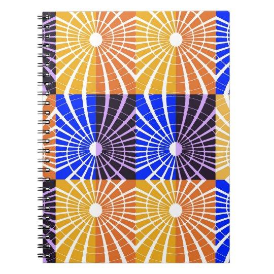 Abstrakt Kunst-Blau und Brown-Gitter Spiral Notizblock