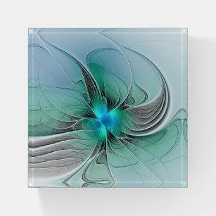 Abstrakt mit blauer, moderner Fraktal Art Briefbeschwerer