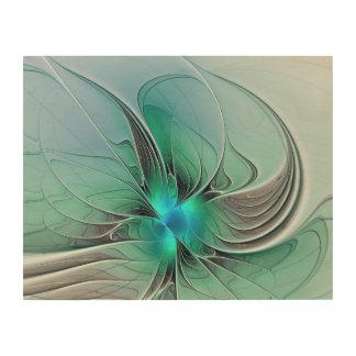 Abstrakt mit blauer, moderner Fraktal-Kunst Holzleinwand