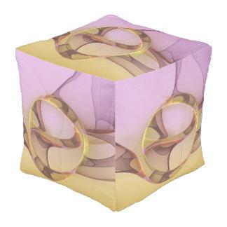 Abstrakte Bewegungs-moderne rosa goldene Kubus Sitzpuff
