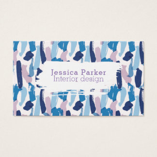 Abstrakte blaue und lila Brushstrokes Visitenkarte