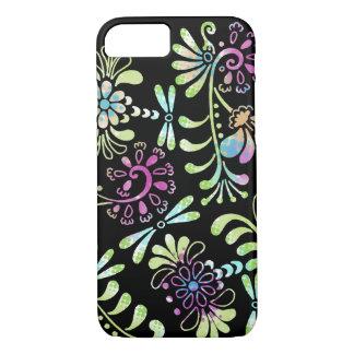 Abstrakte Blumen des Grüns und des Rosas iPhone 7 Hülle