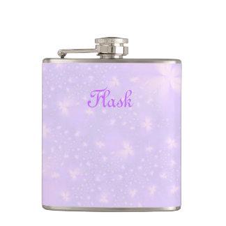 Abstrakte Blumen in der lila und rosa Flasche Flachmann