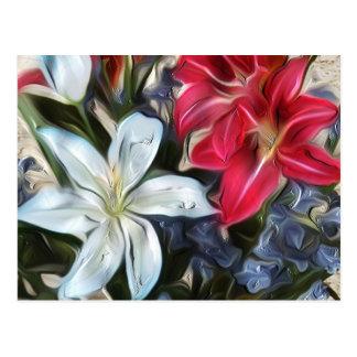Abstrakte Blumendruck-Lilien und Orchideen Postkarte