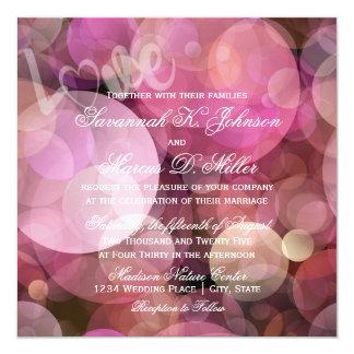 Abstrakte Bokeh rosa lila LIEBE Wedding Einladung