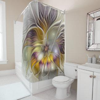 Abstrakte bunte Fantasie-Blumen-modernes Fraktal Duschvorhang