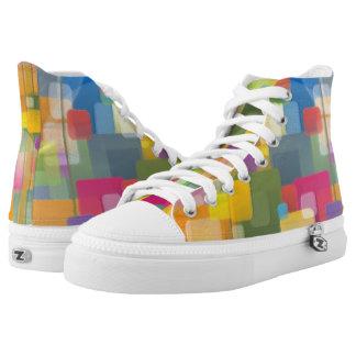 Abstrakte bunte Quadrat-hohe Spitzenschuhe Hoch-geschnittene Sneaker
