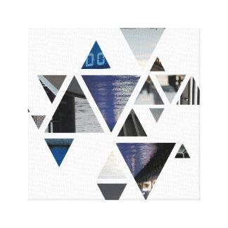 abstrakte Dreiecke blau Leinwanddruck