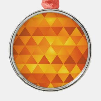 Abstrakte gelbe Dreiecke Rundes Silberfarbenes Ornament