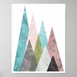 Abstrakte geometrische Berge 2, Türkis u. Rosa Poster