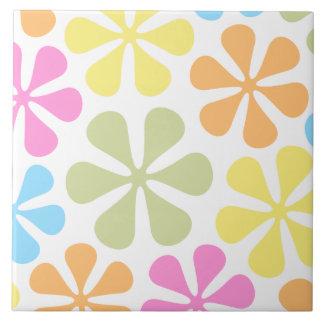 Abstrakte große Blumen-helle Farbmischung Große Quadratische Fliese
