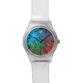 Abstrakte große Knalle 001 mehrfarbig Uhr