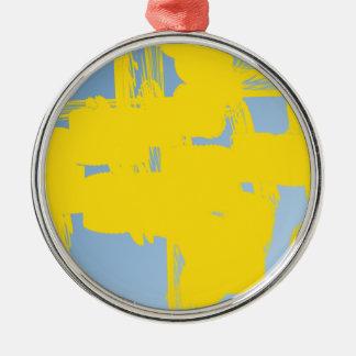 abstrakte Kunst des Gelbs 783 Silbernes Ornament