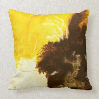 Abstrakte Kunst-Malerei-Tropfen-Spritzer gelbes Kissen