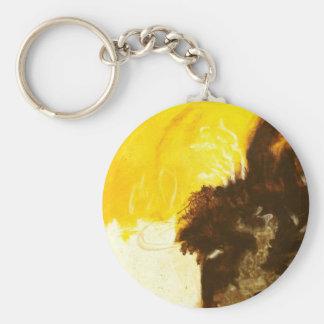 Abstrakte Kunst-Malerei-Tropfen-Spritzer gelbes Schlüsselanhänger
