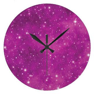 Abstrakte Kunst-rosa und lila Universum Große Wanduhr