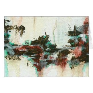 Abstrakte Landschaftskunst, die rotes aquamarines Karte