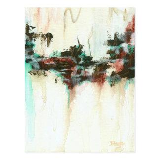 Abstrakte Landschaftskunst, die rotes aquamarines Postkarte