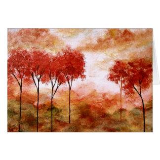 Abstrakte Landschaftskunst-rotes dünnes Baum-Malen Karte