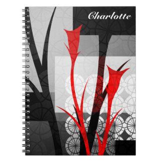 Abstrakte Lilien-personalisiertes Notizbuch Spiral Notizblock