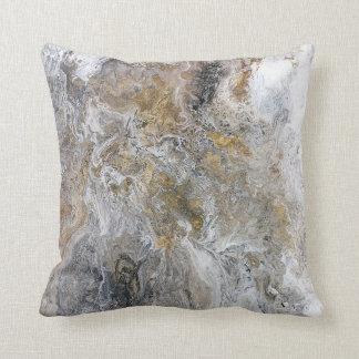 Abstrakte Malerei-graue schwarze Goldweiß-Grafik Kissen