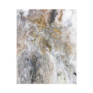 Abstrakte Malerei-graue schwarze Goldweiß-Grafik Leinwanddruck