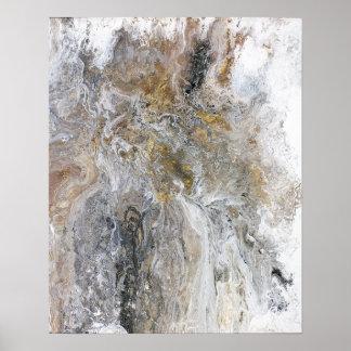 Abstrakte Malerei-graue schwarze Goldweiß-Grafik Poster