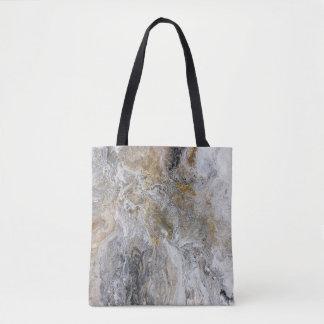 Abstrakte Malerei-graue schwarze Goldweiß-Grafik Tasche
