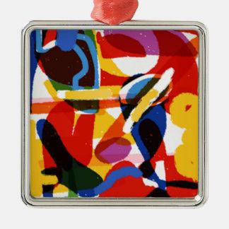 Abstrakte Mod-Welt Quadratisches Silberfarbenes Ornament