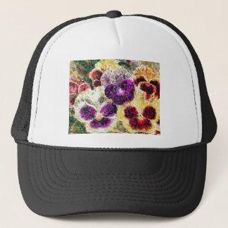 Abstrakte Öl-Malereipansy-Blumen Truckerkappe