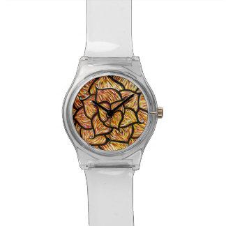 Abstrakte orange Blume Uhr
