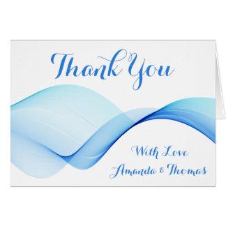 Abstrakte Ozean-Welle danken Ihnen blaues Mitteilungskarte