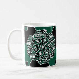 Abstrakte Pfeil-Entwurfs-Variante 1 (Immergrün) Kaffeetasse