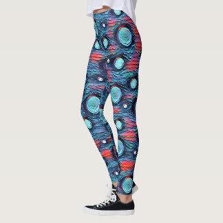 Abstrakte Punkte, Blasenmuster, blaue bunte Kunst Leggings
