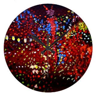 Abstrakte Punkte, die Liebe-runde Wand-Uhr malen Große Wanduhr